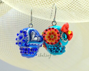 Skull new collection day of dead skulls blue & turquoise earrings stone