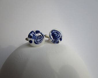 Blue and W hite porcelain 925 solid Silver Cuff links  - Hand made and  Hand painted  and unique