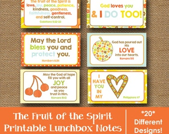 Christian Printable Lunchbox Notes | Scripture Lunch Box Notes | Bible Verse Lunch Love Notes for Kids | Fruit of the Spirit | DIY PRINTABLE