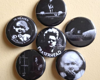 "Eraserhead pin back buttons 1.25"" set of 6"