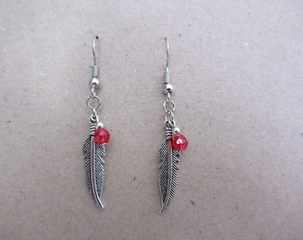 Feather Earrings with Red 4mm bead and Silver seed bead for a Charmed look!