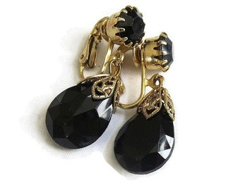 Vintage Black Rhinestone Dangle Earrings