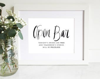 PRINTABLE Sign | Open Bar