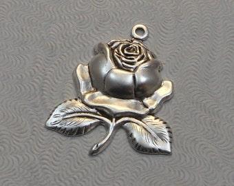 LuxeOrnaments Antique Silver Rose Drop Pendant (Qty 2) 25x21mm S-8833-S