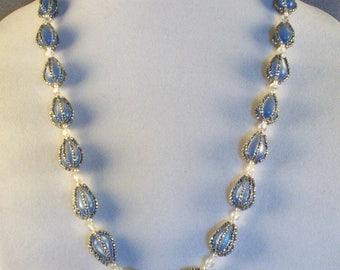 Beautiful Light Blue Necklace // Teardrop Glass Beads // Covered with Seedbeads // Over-The-Head Fitting // No Closure