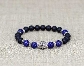 Black onyx bracelet Meditation bracelet Stack bracelet Pisces bracelet Pisces jewelry Horoscope jewelry Zodiac jewelry Gift for men bracelet