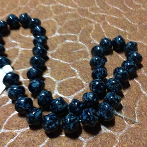 Strand of Vintage Black/Blue Nugget Czech Pressed Beads (Approx. 25 beads)