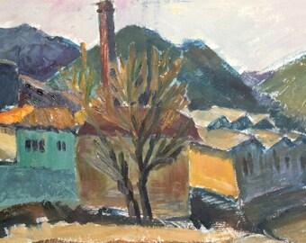 Expressionist landscape vintage oil painting