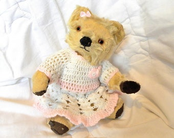 "Vintage 1950's Teddy Bear - 11"" Chad Valley Mohair Bear"