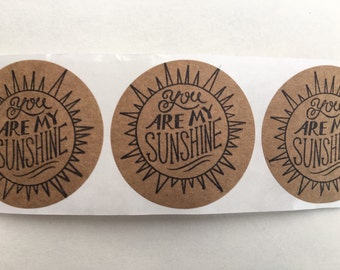 Kraft labels / 2 inches / You are my Sunshine / set of 24