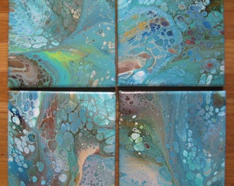 set of 4  fluid acrylic artwork, acrylic pouring, original abstract, home decor, flow art,wall art,metallic accents,