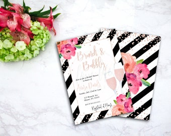 Watercolor Floral Brunch and Bubbly Bridal Shower Invitation | Kate Spade Bridal Shower Invite | Watercolor Floral Bridal Shower Invitation