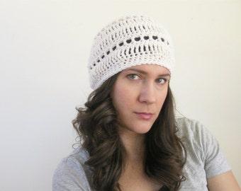 Tuque Vegan Bonnet, béret d'été, léger Bonnet, chapeau de printemps au Crochet en coton