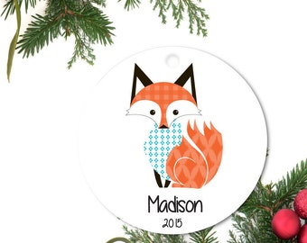 Fox Ornament, Baby's first Ornament, Personalized Christmas Ornament, Custom Baby Ornament, Ceramic baby Ornament, Holiday Gift