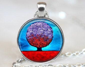 Purple Tree Pendant, Purple Tree Art Pendant, Purple Tree Necklace, Purple Tree Art, Bronze, Silver, Purple Tree Jewelry, Tree Painting 1080