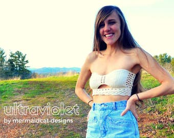 Crochet crop top tube top pattern -Ultraviolet