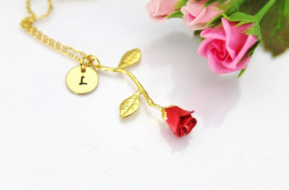 Gold Rose Necklace Gold Rose Charm Necklace Red Rose Charm