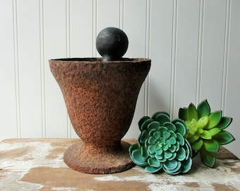 Antique cast iron mortar and 3 pound dumbbell apothecary decor vintage rusty patina urn vase planter