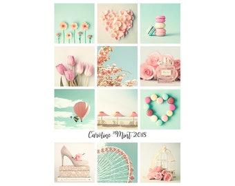2018 Calendar 2018 Desk Calendar 2018 Photo Calendar gift for her 2018 desktop calendar girly gifts under 25 pink mint blush office decor