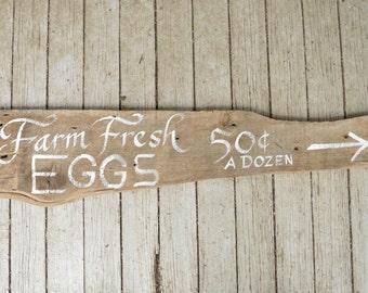 Farm Fresh Eggs Sign - Hand Painted Calligraphy on Reclaimed Barn Wood