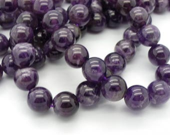 a 38, 39 beads 10 mm with hole 1 mm natural purple amethyst