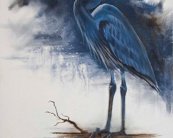 Blue Heron, print from my original oil painting of a blue heron on the coastine of a midwestern lake