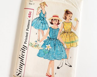 "Vintage 1950s Girls Size 7 One Piece Dress and Sash Transfer Included Simplicity Sewing Pattern 3495 UNCUT / b25 w22.5"" / Full Skirt"