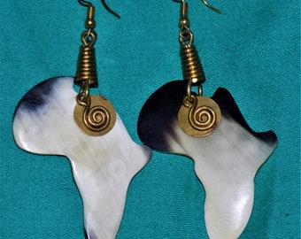 African Map Bone Earrings