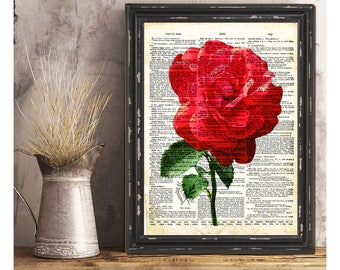 Fleur Rose rouge-vente sur Vintage Page-Art Print-dessins-Galerie d'Art mural-citation impressions-Collage Art Print-Original Art Print-Vintage Art mural