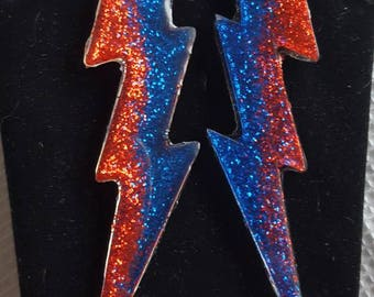 Bowie Bolts Large Red & Blue Glitter Aladdin Sane Handmade Resin Earrings