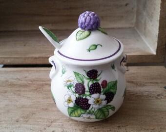 Vintage Lenox fine porcelain Blackberry pattern jam/sugar/condiment jar with lid