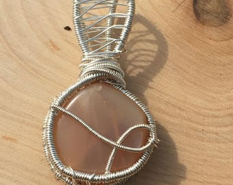 SALE Peach moonstone wire wrapped pendant, moonstone wire wrap, moonstone pendant, peach moonstone necklace, wire wrapped moonstone