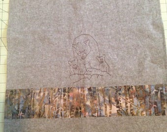 KITCHEN TOWEL | Embroidered | Dish Towel | Grizzly Bear
