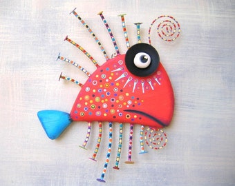 Tangerine Sardine, MADE to ORDER, Original Found Object Wall Sculpture, Wood Carving, Fish Wall Art, by Fig Jam Studio