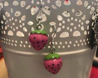 Pink Strawberry earrings