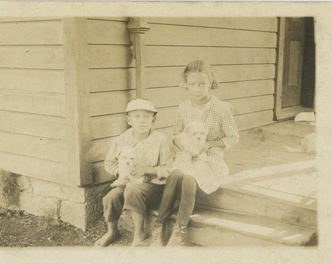 Vintage Snapshot Photo: Brother & Sister on Front Porch with Puppies, c1920s-30s [86687]