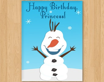 Frozen, Elsa and Anna Inspired Princess Birthday Card - Blank - Free shipping!