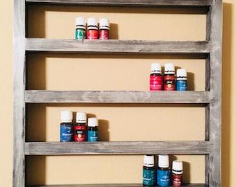 Essential Oil Shelf, nail polish shelf, storage, display, holds 52 (15ml bottles), floating, rustic, distressed, nicknacks, geometric