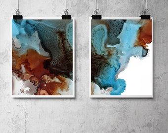 Abstract organic art prints set, set of 2 fine art prints, brown blue watercolor painting art, modern organic abstract wall prints set