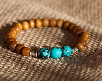 Men's Turquoise Bracelet, Gift for Him, Gift for Boyfriend, Turquoise Bracelet , Mens Boho Bracelet, Stacking Bracelet for Him, Gift for Dad