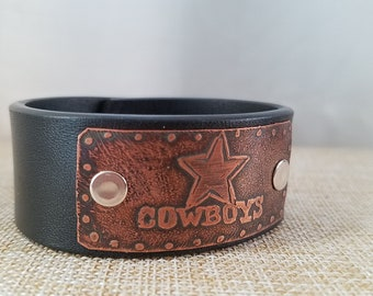 Cowboys etched metal leather cuff