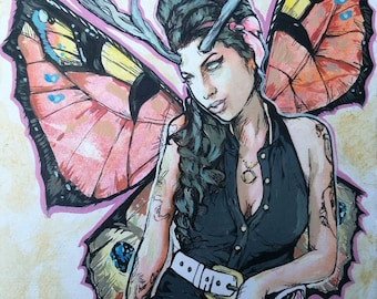 Amy Winehouse Fairy original giclee print - antlers and Peacock butterfly