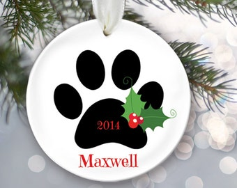 Family Pet Ornament Dog Ornament Cat Ornament Personalized Christmas Ornament Paw print Name and Date Custom Pet Gift Ceramic Ornament OR196