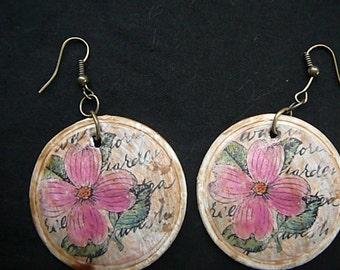 Handmade Antique Look Decoupaged Victorian Earrings
