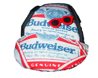 Dog Hat Budweiser Fabric,Dog Accessories Size Small Handcrafted in the USA World Famous Kool Dog Hats Stay On