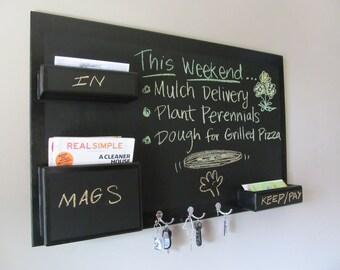 Mail Organizer Chalkboard wall mount medium size high gloss border key hooks