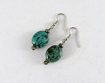 Tibetan turquoise earrings - antique turquoise - tibetan jewelry