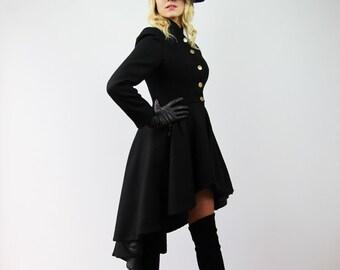 Women long coat, wool coat, black maxi coat, assymetrical coat, womens coats, high low coat, hi lo coat