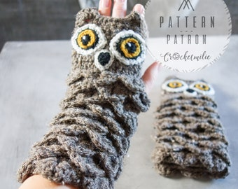 CROCHET PATTERN #002 ---Crochet owl gloves / owl mittens