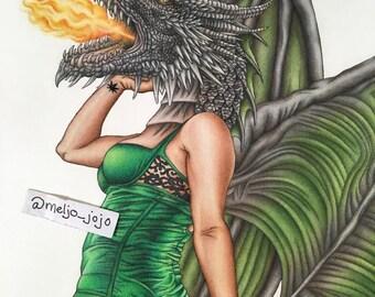Dragon Burlesque Pinup Artwork Poster Draggin Lady 11x14